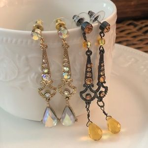 Lot of 2 Chandelier Earrings Gold and Yellow